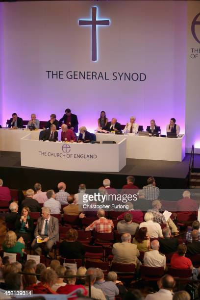 Members of the Church of England's Synod attend the morning session of the annual Church of England General Synod before they vote on the...