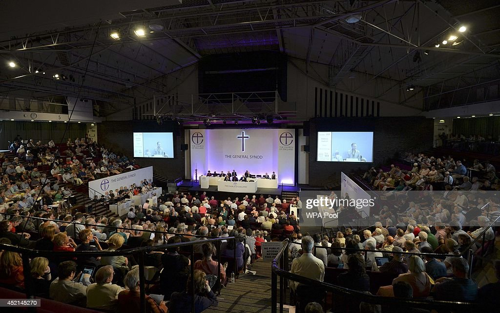 Members of the Church of England's Synod attend the session to discuss and vote on the consecration of women bishops on July 14 2013 in York England...