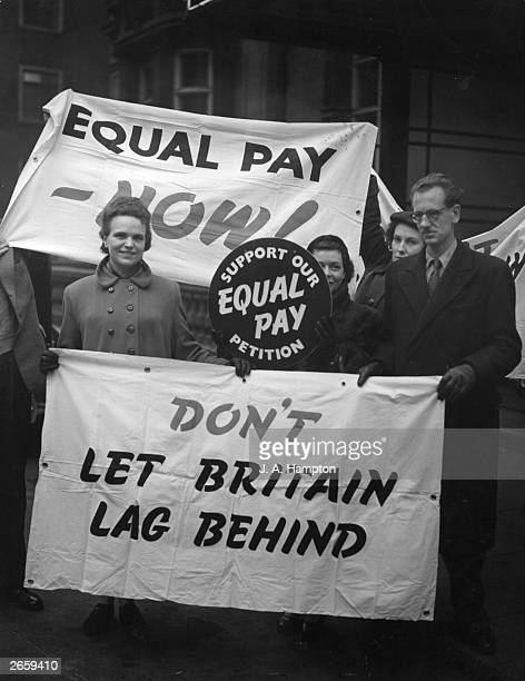 Members of the civil service campaign for equal pay outside Caxton Hall