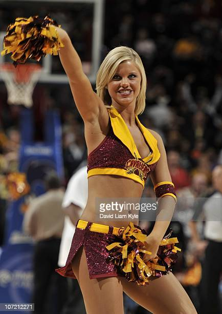 Members of the Cleveland Cavaliers dance team the Cavalier Girls performs during a game against the New Jersey Nets at The Quicken Loans Arena on...