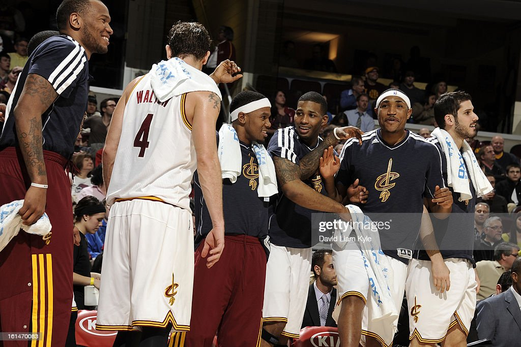 Members of the Cleveland Cavaliers get excited after a play against the Charlotte Bobcats at The Quicken Loans Arena on February 6, 2013 in Cleveland, Ohio.
