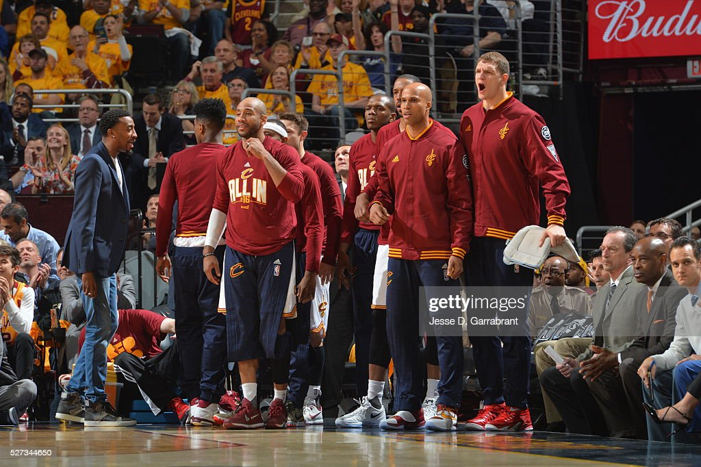 Members of the Cleveland Cavaliers look on against the Atlanta Hawks during the Eastern Conference Semifinals Game One on May 2, 2016 at The Quicken Loans Arena in Cleveland, Ohio.