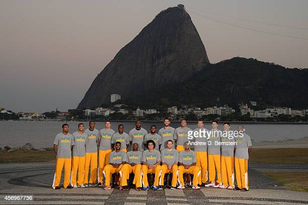 Members of the Cleveland Cavaliers pose for a team photo as a part of NBA Global Games on October 9 2014 in Rio de Janeiro Brazil NOTE TO USER User...