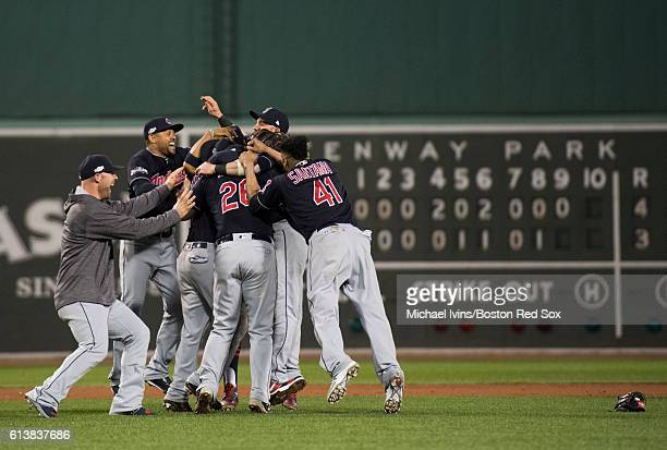 Members of the Cleveland Indians celebrate after a 43 win and series sweep against the Boston Red Sox in game three of the American League Division...
