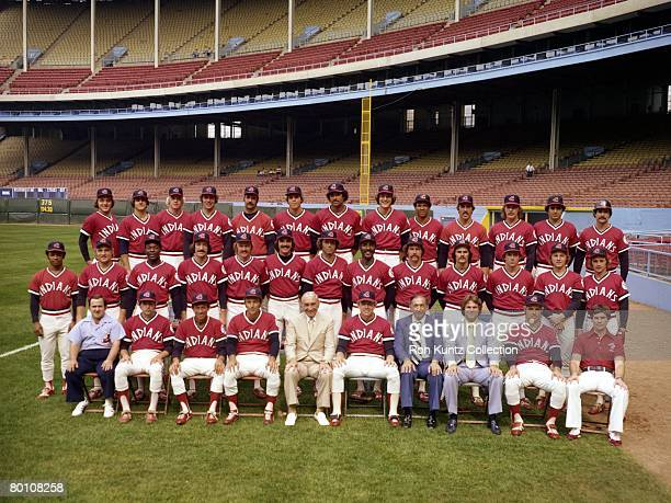 Members of the Cleveland Indians pose for a team portrait prior to a game in 1977 at Municipal Stadium in Cleveland Ohio Those pictured include...