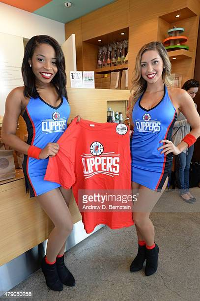 Members of the Clippers dance team during the Los Angeles Clippers logo unveiling in Los Angeles California on June 18 2015 NOTE TO USER User...
