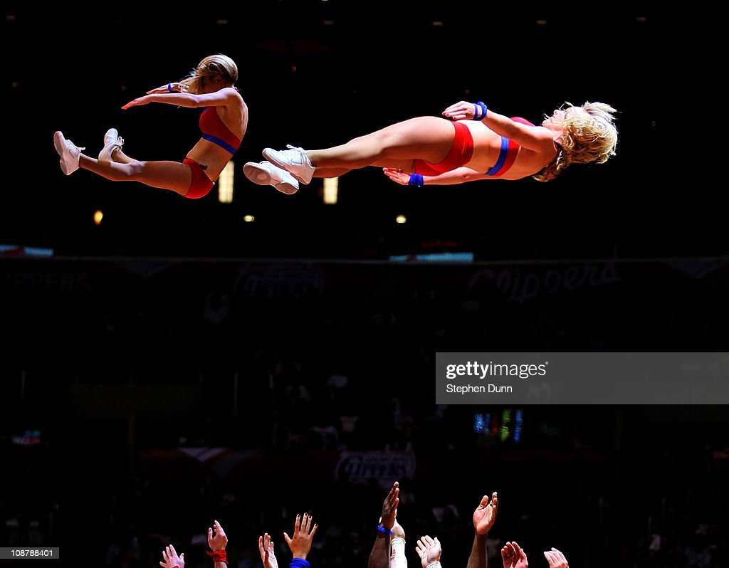 Members of the Clippers Fan Patrol cheerleading squad perform during the game between the Chicago Bulls and the Los Angeles Clippers at Staples Center on February 2, 2011 in Los Angeles, California.