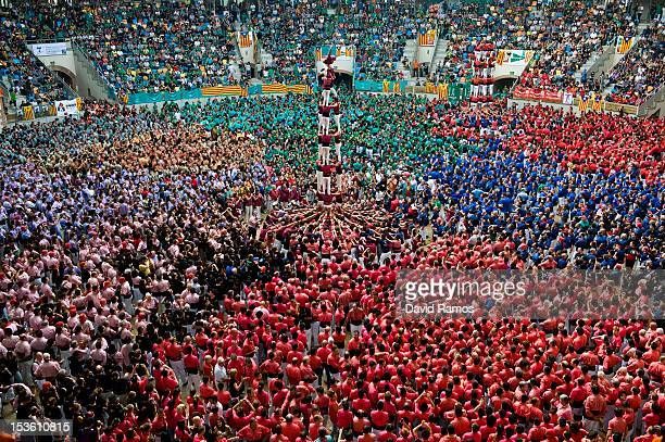 Members of the Colla 'Castellers de Lleida' climb up as they construct a human tower during the 24th Tarragona Castells Comptetion on October 7 2012...