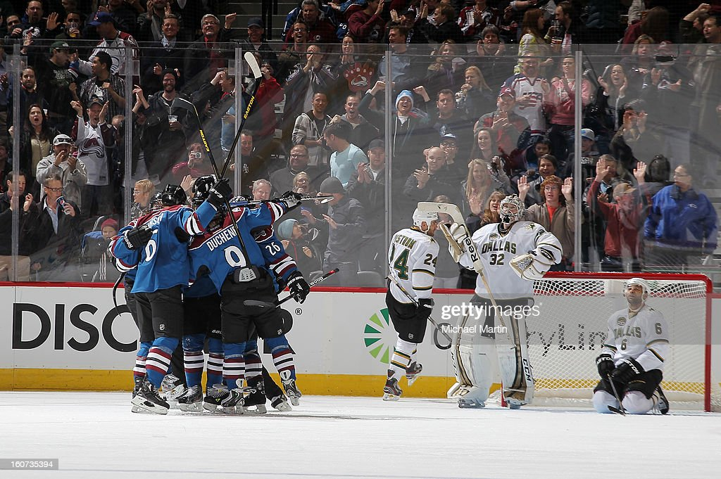 Members of the Colorado Avalanche celebrate a goal against the Dallas Stars at the Pepsi Center on February 4, 2013 in Denver, Colorado.