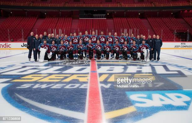 Members of the Colorado Avalanche pose for a team photo prior to the practice at the Ericsson Globe on November 7 2017 in Stockholm Sweden