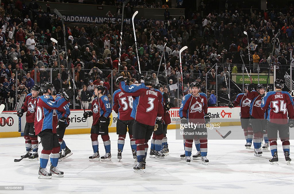 Members of the Colorado Avalanche salute the croud after defeating the Nashville Predators at the Pepsi Center on February 18, 2013 in Denver, Colorado. The Avalanche defeated the Predators 6-5.
