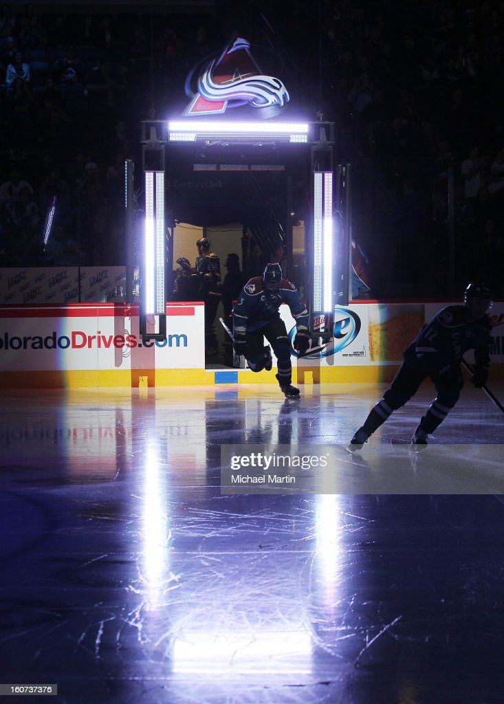 Members of the Colorado Avalanche take to the ice against the Dallas Stars at the Pepsi Center on February 4, 2013 in Denver, Colorado.
