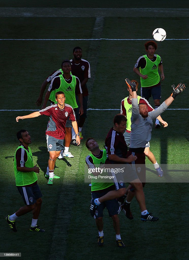 Members of the Colorado Rapids battle for control of the ball during a training session at the Aloha Stadium on February 22, 2012 in Honolulu, Hawaii. The Rapids are preparing for the Hawaiian Islands Invitational Soccer Tournament.