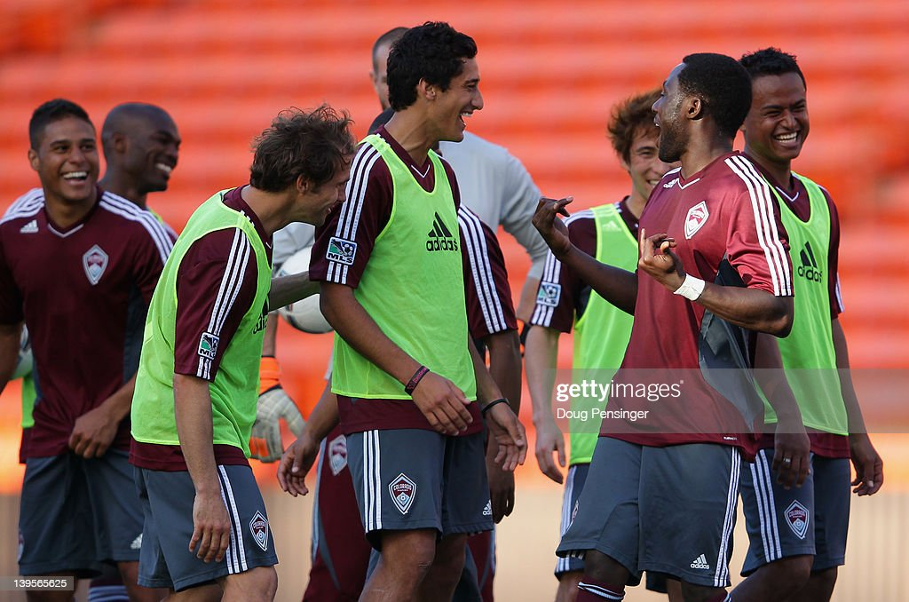 Members of the Colorado Rapids laugh as they compete in a skills competition during a training session at the Aloha Stadium on February 22, 2012 in Honolulu, Hawaii. The Rapids are preparing for the Hawaiian Islands Invitational Soccer Tournament.