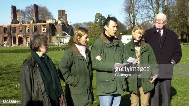 Members of the Colvin family Elizabeth Gilmour Arabella Gaggero Jamie CayzerColvin Amanda Ponsonby and Alistair Colvina reading a statement in the...