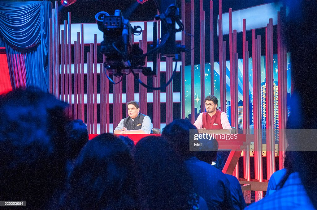 Members of the comedy troupe All India Bakchod (AIB), Tanmay Bhat ( R) and Gursimran Khamba (L) recording its first television gig, On Air with AIB, a news comedy show produced by Star TV at Filmalaya studio on October 26, 2015 in Mumbai, India.