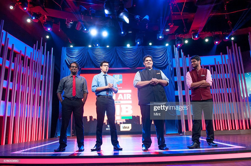 Members of the comedy troupe All India Bakchod (AIB), Tanmay Bhat ( 2 R) , Rohan Joshi (2 L), Gursimran Khamba (R) and Ashish Shakya (L) recording its first television gig, On Air with AIB, a news comedy show produced by Star TV at Filmalaya studio on October 26, 2015 in Mumbai, India.