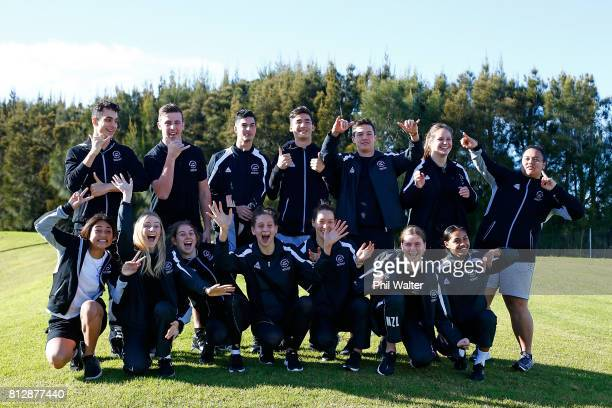 Members of the Commonwealth Youth Games team pose for a group photo during the Commonwealth Youth Games Team Media Open Day at AUT Miliennium...