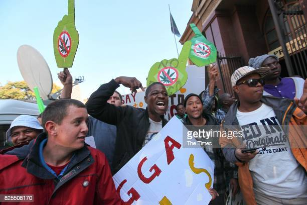 Members of the Concerned Young People of SA outside the North Gauteng High Court on July 31 2017 in Pretoria South Africa Stobbs and his partner...