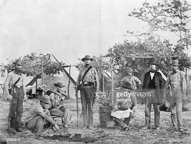 Members of the Confederate States Navy at a campsite in Pensacola Florida during the Civil War