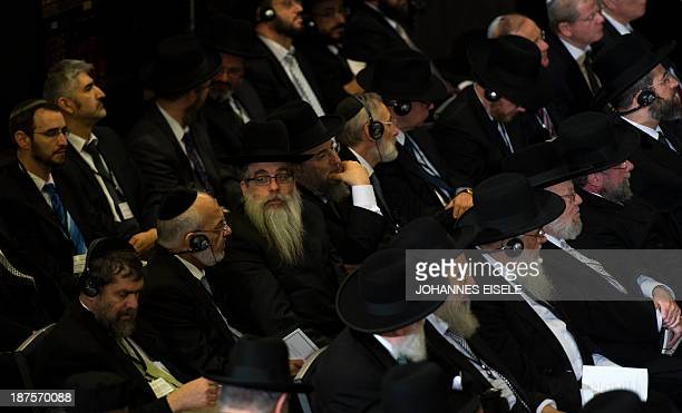 Members of the Conference of European Rabbis attend a commemoration for the 75th anniversary of the Nazi pogrom Kristallnacht of 910 November 1938 in...