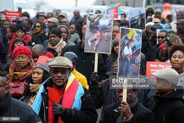 Members of the Congolese community in Belgium demonstrate in Brussels on December 17 2016 to ask the departure of Congo's President Jodeph Kabila at...