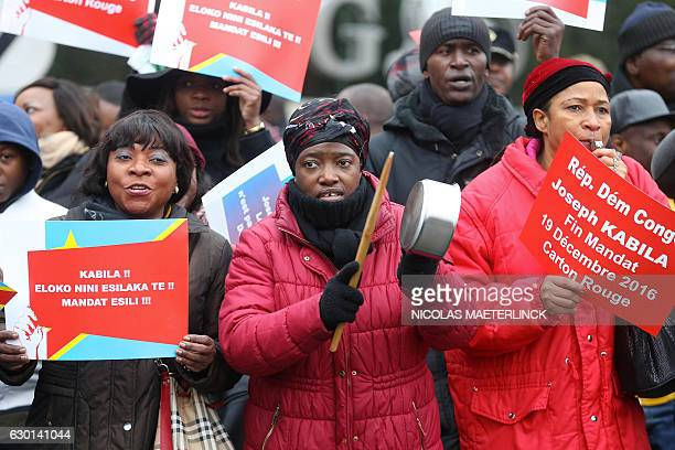 Members of the Congolese community in Belgium demonstrate in Brussels on December 17 2016 to ask the departure of Congo's President Joseph Kabila at...