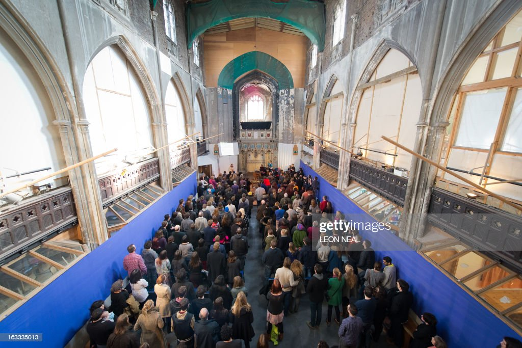 Members of the congregation attend as British comedians Sanderson Jones and Pippa Evans cofounders of The Sunday Assembly an atheist service held at...