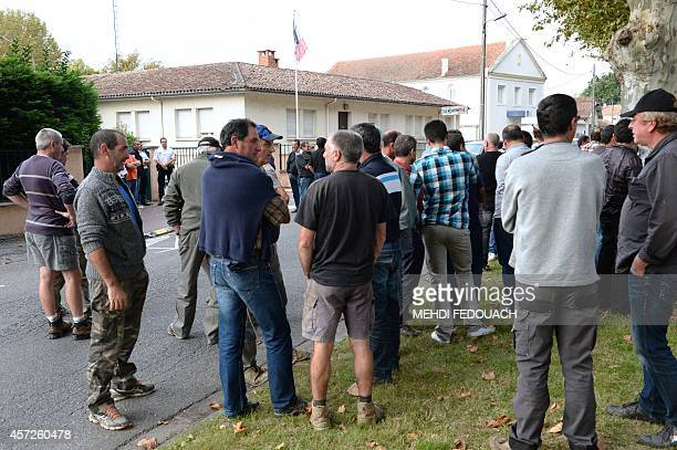 Members of the Coordination Rurale farmers' union demonstrate on October 15 2014 in front of the gendarmerie of VilleneuvesurLot southern France...