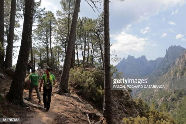 Members of the Corsica Regional Parc in charge of the GR 20 trek signing Benoit Vesperini and Jean Antonelli walk in the Bavella picks montains on...