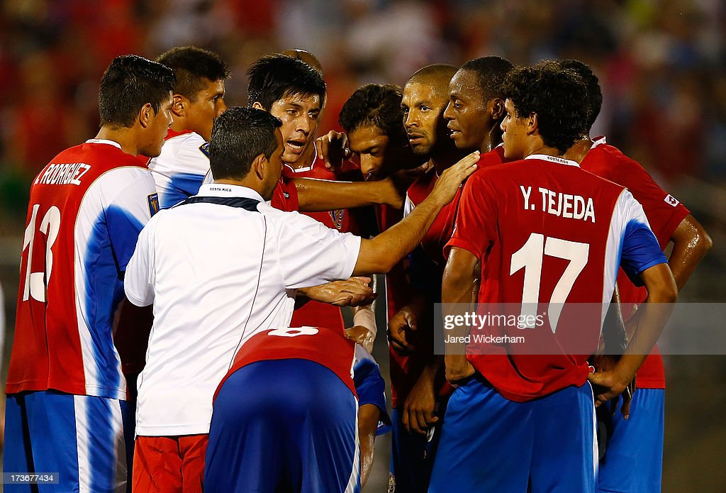 Members of the Costa Rica national team huddle together following their 1-0 loss to the United States during the CONCACAF Gold Cup match at Rentschler Field on July 16, 2013 in East Hartford, Connecticut.