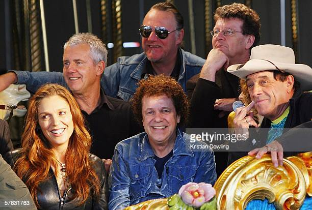 Members of the Countdown Spectacular Tottie Goldsmith Daryl Braithwaite Leo Sayer Wilbur Wilde Red Symons and host Molly Meldrum attend the launch...