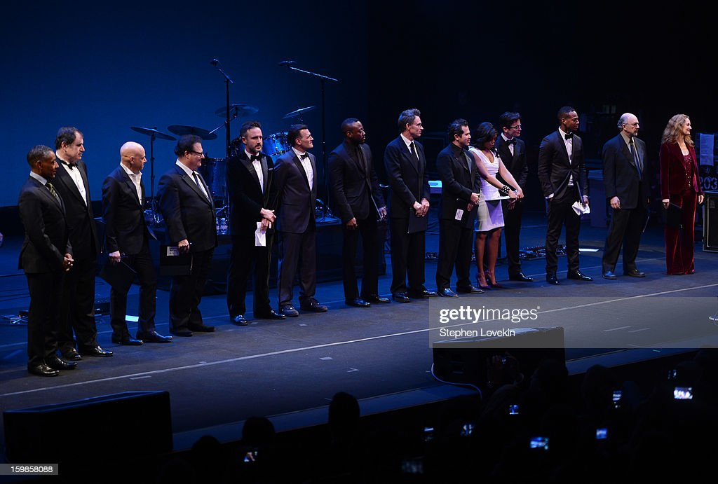 Members of the Creative Coalition Giancarlo Esposito, Richard Kind, Evan Handler, Wayne Knight, David Arquette, Phillip Bloch, Omar Epps, Tim Daly, John Leguizamo, Taraji P. Henson, Matt Bomer, Marlon Wayans, Richard Schiff, and Melissa Leo speak onstage at The Creative Coalition's 2013 Inaugural Ball at the Harman Center for the Arts on January 21, 2013 in Washington, United States.