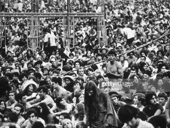 Members of the crowd at the Woodstock Festival in Bethal New York