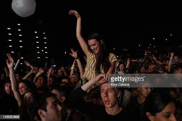 Members of the crowd enjoy the hip hop performance put on by the rapper Nas at the Red Bull Stage on March 17 the last day of the South by Southwest...