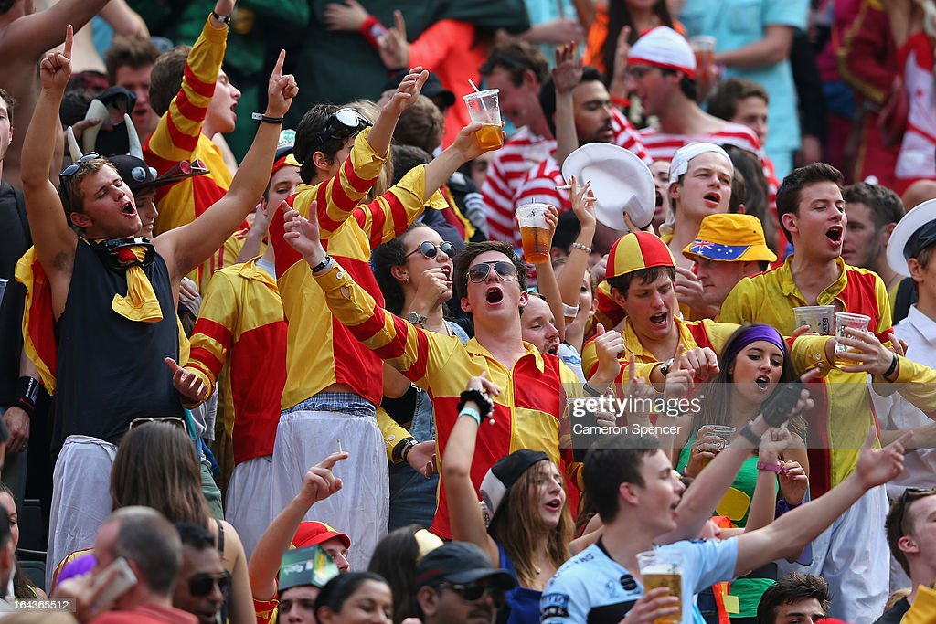 Members of the crowd in fancy dress enjoy the atmosphere during day two of the 2013 Hong Kong Sevens at Hong Kong Stadium on March 23, 2013 in So Kon Po, Hong Kong.
