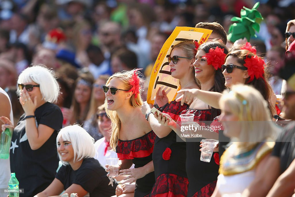 Members of the crowd in fancy dress enjoy the atmosphere during the 2016 Sydney Sevens at Allianz Stadium on February 6, 2016 in Sydney, Australia.
