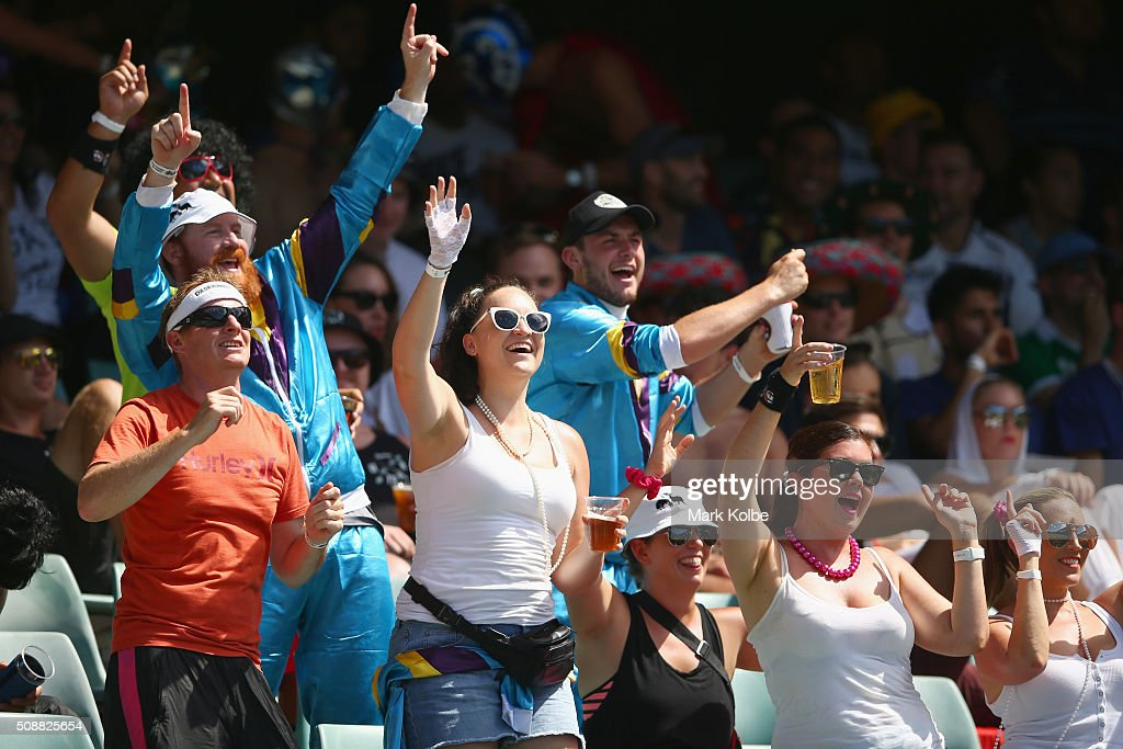Members of the crowd in fancy dress enjoy the atmosphere during the 2016 Sydney Sevens at Allianz Stadium on February 7, 2016 in Sydney, Australia.