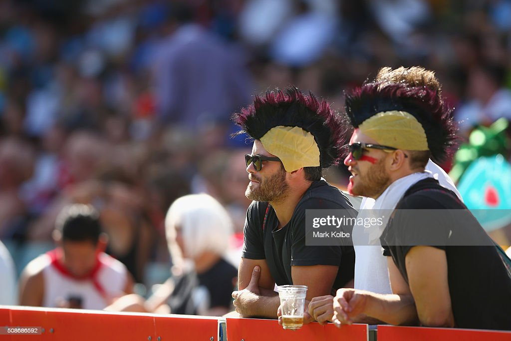 Members of the crowd in fancy dress watch on during the 2016 Sydney Sevens at Allianz Stadium on February 6, 2016 in Sydney, Australia.
