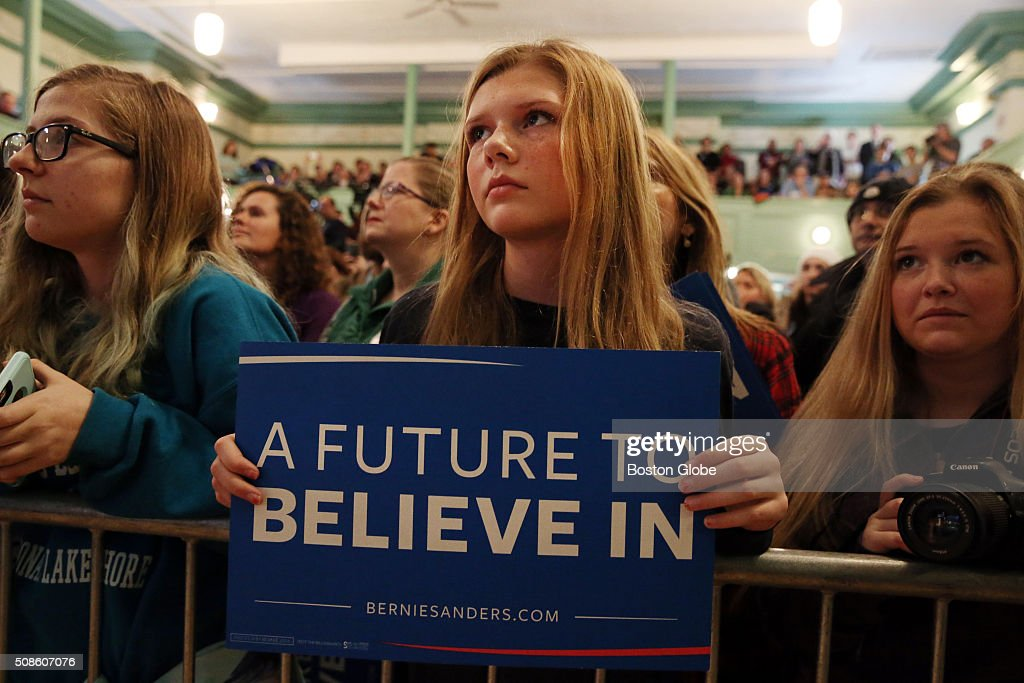 Members of the crowd listen as Bernie Sanders addresses the crowd during a 'Get Out the Vote' rally at Town Hall in Exeter, N.H. on Feb. 5, 2016.