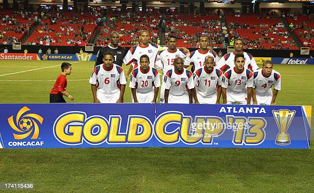 Members of the Cuba national soccer team pose for a picture before the CONCACAF Gold Cup quarterfinal game against Panama at the Georgia Dome on July...
