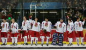 Members of the Czech Republic hockey team celebrate receiving the bronze medal after their 30 win against Russia during Day 15 of the Turin 2006...