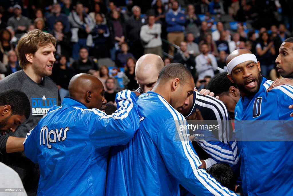 Members of the Dallas Mavericks huddle up before the game against Minnesota Timberwolves on January 14, 2013 at the American Airlines Center in Dallas, Texas.