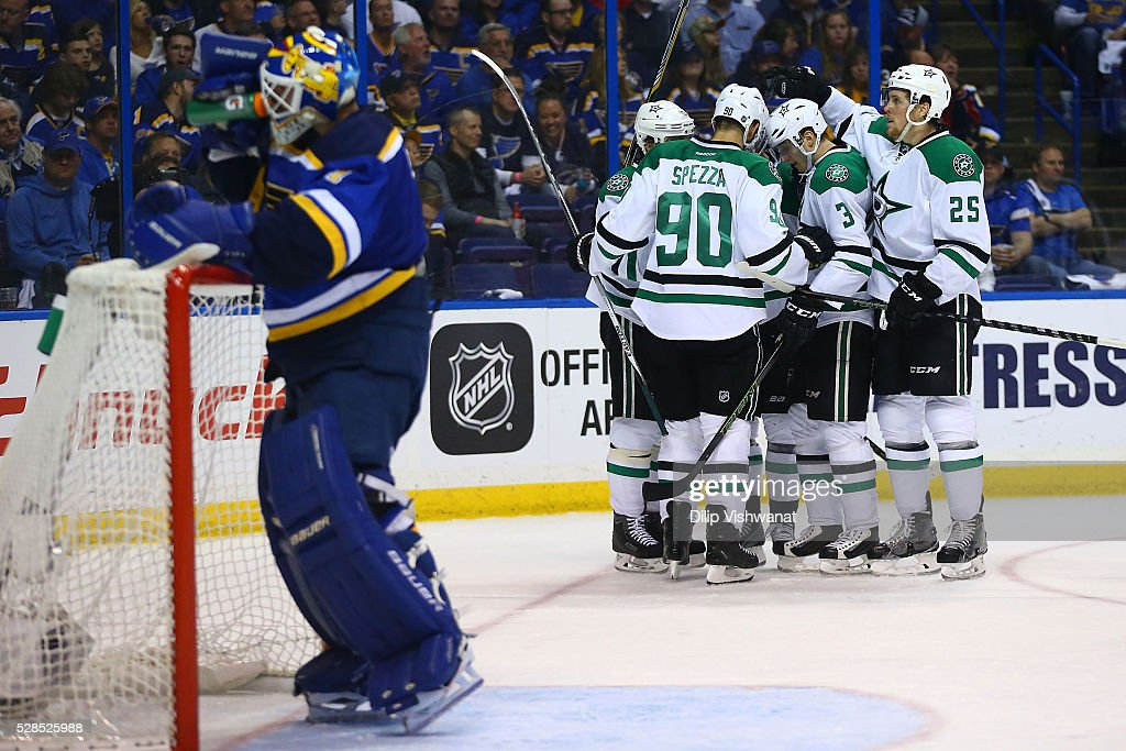Members of the Dallas Stars celebrate after scoring a goal against the St. Louis Blues in Game Four of the Western Conference Second Round during the 2016 NHL Stanley Cup Playoffs at the Scottrade Center on May 5, 2016 in St. Louis, Missouri.