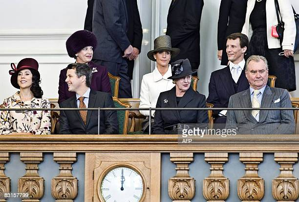 Members of the Danish royal family attend the season opening of the Danish Parliament in Copenhagen on October 7 2008 Back row from left Princess...