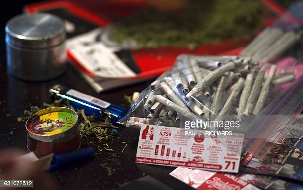 Members of the DC Marijuana Coalition that plan on handing out approximately 4200 joints of legally grown cannabis on January 20 display joints on...