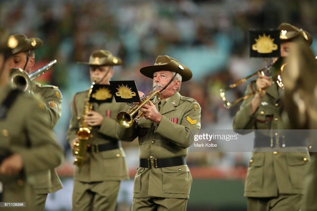 Members of the Defence Force conduct an ANZAC commemoration service before the round eight NRL match between the South Sydney Rabbitohs and the Brisbane Broncos at ANZ Stadium on April 21, 2017 in Sydney, Australia.