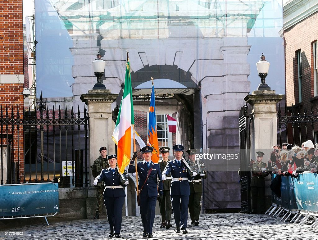 Members of the Defence Forces at the Easter Sunday Commemoration Ceremony at Dublin Castle on March 27 2016 in Dublin Ireland Today marks the 100th...
