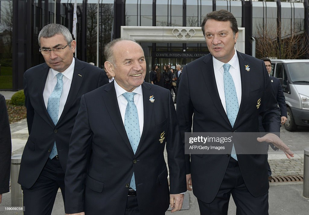Members of the delegation of Istanbul bid (L to R) IOC member and NOC President, Prof. Ugur Erdener, Major of Istanbul, Kadir Topbas and Bid Committie Leader, Hasan Arat, talk on January 7, 2013 at the headquarters of the International Olympic Committee in Lausanne. The three candidate cities, Istanbul, Madrid and Tokyo to host the 2020 Olympics takn a huge step on the road to who will be designated the winner in Buenos Aires on September 7 when they present their candidature files to the International Olympic Committee on Monday in Lausanne.