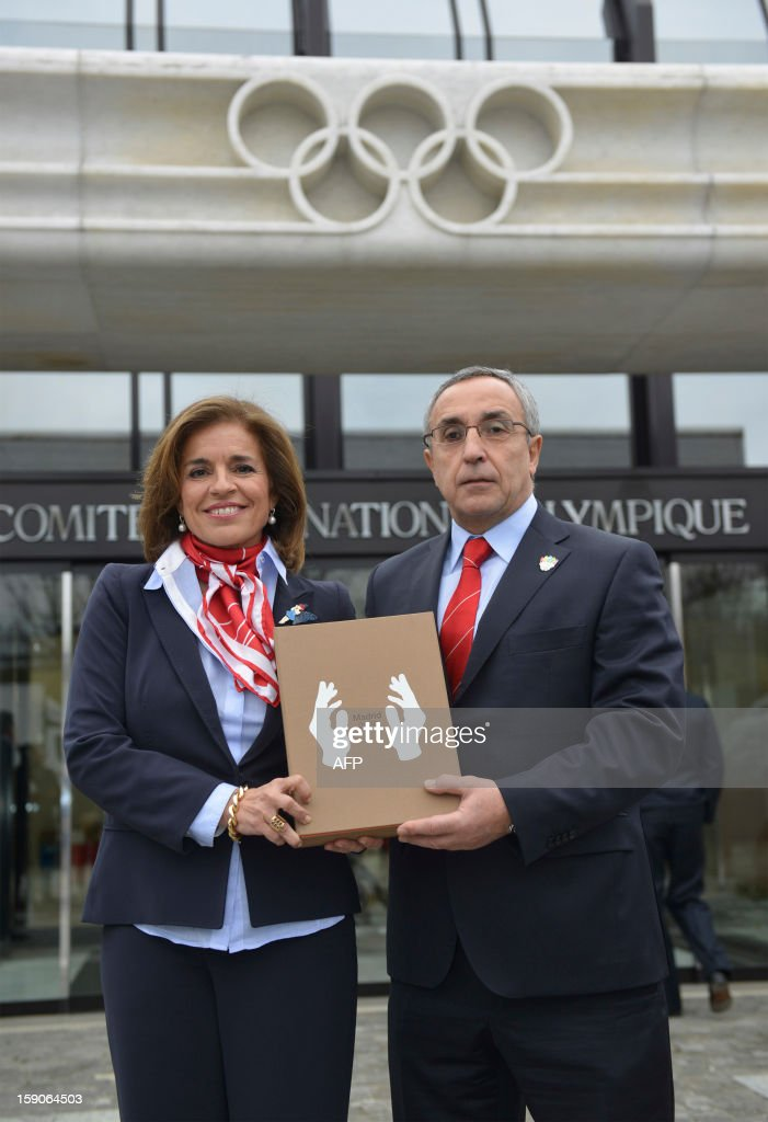 Members of the delegation of Madrid bid (L to R) Ana Botella, Mayor of Madrid and Alejandro Blanco, IOC member pose with the candidature files prior to the hand over? on January 7, 2013 at the headquarters of the International Olympic Committee in Lausanne. The three candidate cities, Istanbul, Madrid and Tokyo to host the 2020 Olympics take a huge step on the road to who will be designated the winner in Buenos Aires on September 7 when they present their candidature files to the International Olympic Committee on Monday in Lausanne.